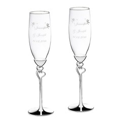 Personalized Angel Design Alloy Glass Toasting Flutes (2 Pieces)