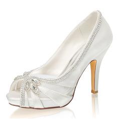 Женщины шелка как атласное Высокий тонкий каблук Открытый мыс Платформа На каблуках с горный хрусталь