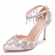 Vrouwen Kunstleer Spool Hak Closed Toe Pumps met Tassel Kristal