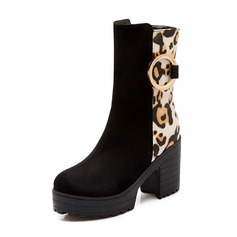 Women's Suede Chunky Heel Boots With Split Joint shoes