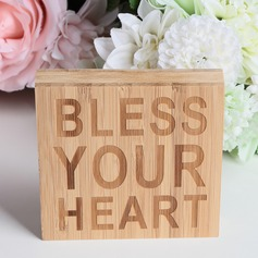 """BLESS YOUR HEART"" Classic Square Design Bamboo Wedding Sign"