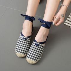 Femmes Tissu Talon plat Chaussures plates Bout fermé avec Dentelle chaussures