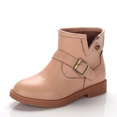Ragazze Pelle vera Heel piatto Punta chiusa Stivali alla caviglia Stivali con Fibbia