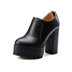 Frauen Stämmiger Absatz Absatzschuhe Plateauschuh Geschlossene Zehe mit Reißverschluss Schuhe