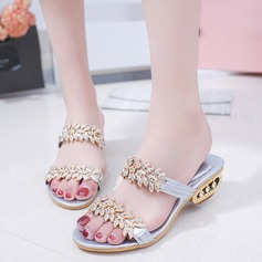 Women's PU Low Heel Sandals Slippers With Rhinestone Jewelry Heel shoes