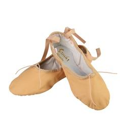 Женщины Натуральня кожа На плокой подошве Балет Обувь для танцев