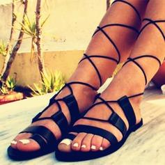 Женщины PU Плоский каблук Сандалии На плокой подошве Открытый мыс с Шнуровка обувь
