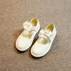 Girl's Round Toe Closed Toe Leatherette Low Heel Flats Flower Girl Shoes With Flower