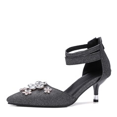 Kvinner Glitrende Glitter Skje Hæl Sandaler Pumps med Rhinestone Glidelås sko