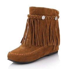 Women's Suede Flat Heel Flats Boots Mid-Calf Boots With Tassel shoes