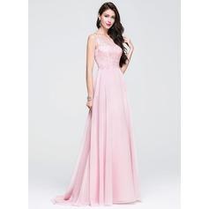 Vestidos princesa/ Formato A Decote redondo Sweep/Brush trem De chiffon Vestido de baile com Bordado