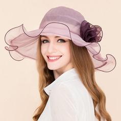 Señoras' Elegante poliéster con Flores de seda Disquete Sombrero