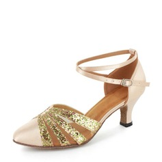 Vrouwen Satijn Sprankelende Glitter Hakken Latijn Party met Enkelriempje Dansschoenen