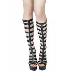Женщины Лакированная кожа Высокий тонкий каблук На каблуках Платформа Открытый мыс Сапоги до колен с Застежка-молния В дырочку обувь