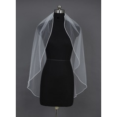 One-tier Fingertip Bridal Veils With Beaded Edge