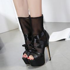 De mujer Malla PU Tacón stilettos Salón Plataforma Botas Encaje Botas longitud media con Cordón zapatos