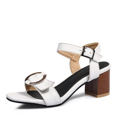 Kvinnor PU Tjockt Häl Sandaler Pumps med Spänne skor