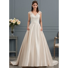 Ball-Gown V-neck Court Train Satin Wedding Dress (002145296)