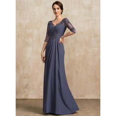 A-Line V-neck Floor-Length Chiffon Lace Mother of the Bride Dress With Ruffle Beading Sequins
