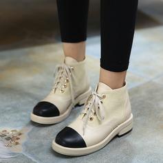 Donna PU Tacco basso Stivali alla caviglia con Allacciato Con risvolto scarpe