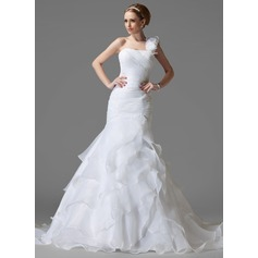 Trumpet/Mermaid One-Shoulder Chapel Train Satin Organza Wedding Dress With Beading Flower(s) Cascading Ruffles (002004150)
