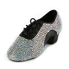 Men's Leatherette Flats Latin Ballroom Swing Practice Character Shoes With Rhinestone Dance Shoes (053018503)
