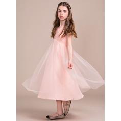 Forme Princesse Longueur mollet Robes à Fleurs pour Filles - Tulle Sans manches Col V avec Plissé
