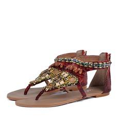 Women's Leatherette Flat Heel Sandals Flats Peep Toe With Rhinestone Beading Zipper shoes