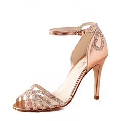 Kvinnor Konstläder Glittrande Glitter Stilettklack Peep Toe Pumps Sandaler med Glittrande Glitter Split gemensamma