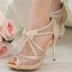 Women's Mesh Stiletto Heel Peep Toe Platform Sandals Beach Wedding Shoes With Bowknot