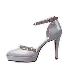 Kvinnor Lackskinn Stilettklack Sandaler Pumps Plattform Stängt Toe med Spänne skor