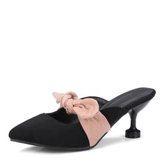 Frauen Veloursleder Stöckel Absatz Sandalen Absatzschuhe mit Bowknot Schuhe