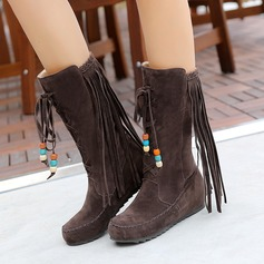 Women's Suede Flat Heel Flats Closed Toe Boots Mid-Calf Boots With Tassel Others shoes