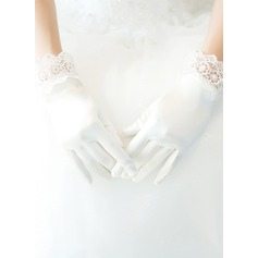 Кружева/Атлас Наручные длина Свадебные перчатки