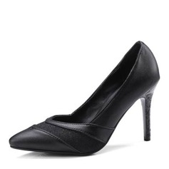 Women's Leatherette Cone Heel Pumps Closed Toe With Split Joint shoes
