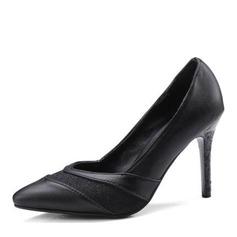 Kvinnor Konstläder Cone Heel Pumps Stängt Toe med Split gemensamma skor