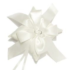 Elegant Ivory Ring Pillow With Ribbons