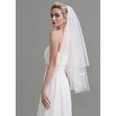 Two-tier Cut Edge Fingertip Bridal Veils With Beading/Sequin