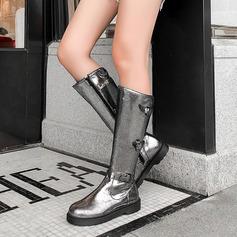 Frauen Kunstleder Niederiger Absatz Kniehocher Stiefel Schneestiefel mit Schnalle Reißverschluss Schuhe