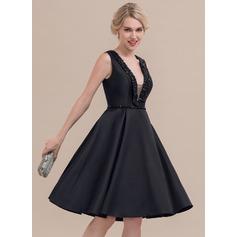 A-Line/Princess V-neck Knee-Length Satin Cocktail Dress With Beading (016108736)