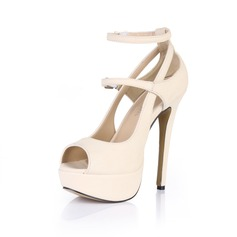 Women's Patent Leather Stiletto Heel Sandals Platform Peep Toe With Buckle shoes (085026446)