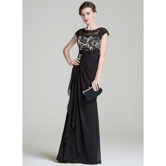 Trumpet/Mermaid Scoop Neck Floor-Length Chiffon Mother of the Bride Dress With Ruffle Beading Sequins Cascading Ruffles