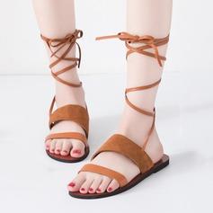 Kvinner Egte Lær Flat Hæl Sandaler Titte Tå med Flettet Stropp sko