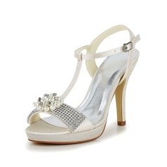 Women's Satin Stiletto Heel Pumps Sandals With Buckle Imitation Pearl Rhinestone (047048531)