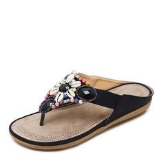 Женщины кожа Плоский каблук Сандалии Открытый мыс Босоножки Вьетнамки с горный хрусталь обувь