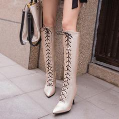 Vrouwen Kunstleer Stiletto Heel Pumps Laarzen Knie Lengte Laarzen met Vastrijgen schoenen