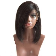 4A Ej remy Straight Mänskligt hår Lace Front Parykar 180g