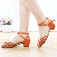 Kids' Leatherette Latin With Ankle Strap Dance Shoes