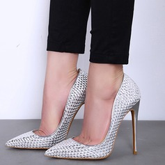Women's Real Leather Stiletto Heel Pumps Closed Toe With Animal Print shoes