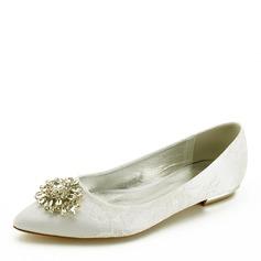 Femmes Similicuir Talon plat Bout fermé Chaussures plates avec Couture dentelle Cristal (047170379)